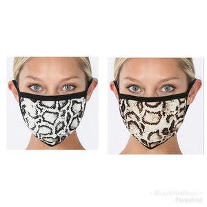 Snake print Soft Cotton Face Masks. New in pkg.